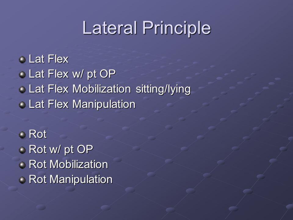 Lateral Principle Lat Flex Lat Flex w/ pt OP Lat Flex Mobilization sitting/lying Lat Flex Manipulation Rot Rot w/ pt OP Rot Mobilization Rot Manipulat