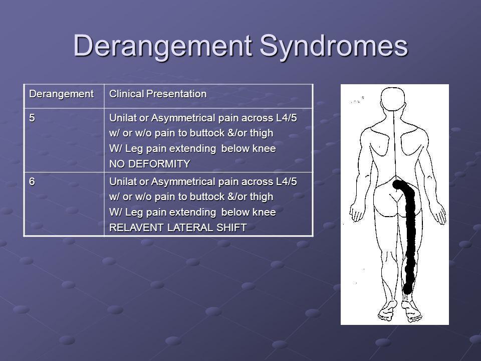 Derangement Syndromes Derangement Clinical Presentation 5 Unilat or Asymmetrical pain across L4/5 w/ or w/o pain to buttock &/or thigh W/ Leg pain ext