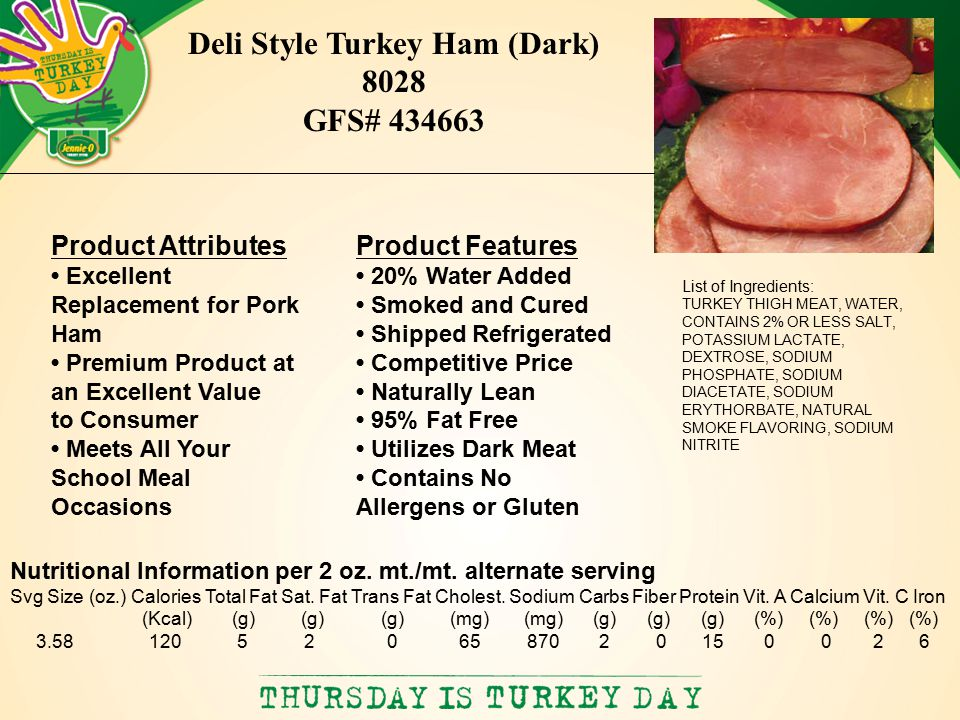 List of Ingredients: TURKEY THIGH MEAT, WATER, CONTAINS 2% OR LESS SALT, POTASSIUM LACTATE, DEXTROSE, SODIUM PHOSPHATE, SODIUM DIACETATE, SODIUM ERYTHORBATE, NATURAL SMOKE FLAVORING, SODIUM NITRITE Deli Style Turkey Ham (Dark) 8028 GFS# 434663 Product Features 20% Water Added Smoked and Cured Shipped Refrigerated Competitive Price Naturally Lean 95% Fat Free Utilizes Dark Meat Contains No Allergens or Gluten Product Attributes Excellent Replacement for Pork Ham Premium Product at an Excellent Value to Consumer Meets All Your School Meal Occasions Nutritional Information per 2 oz.