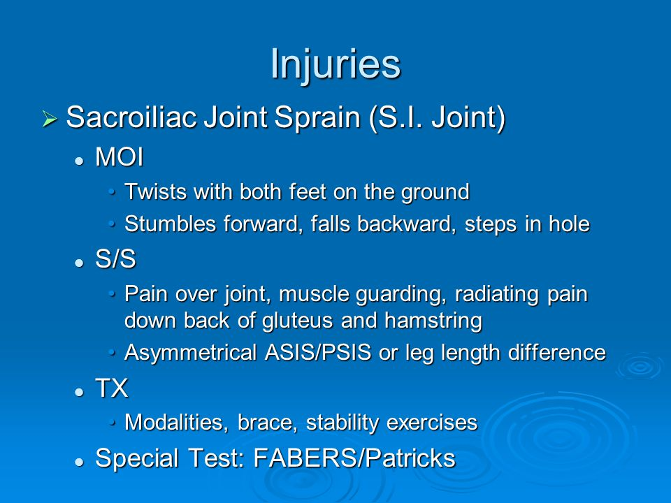 Injuries  Sacroiliac Joint Sprain (S.I. Joint) MOI MOI Twists with both feet on the groundTwists with both feet on the ground Stumbles forward, falls