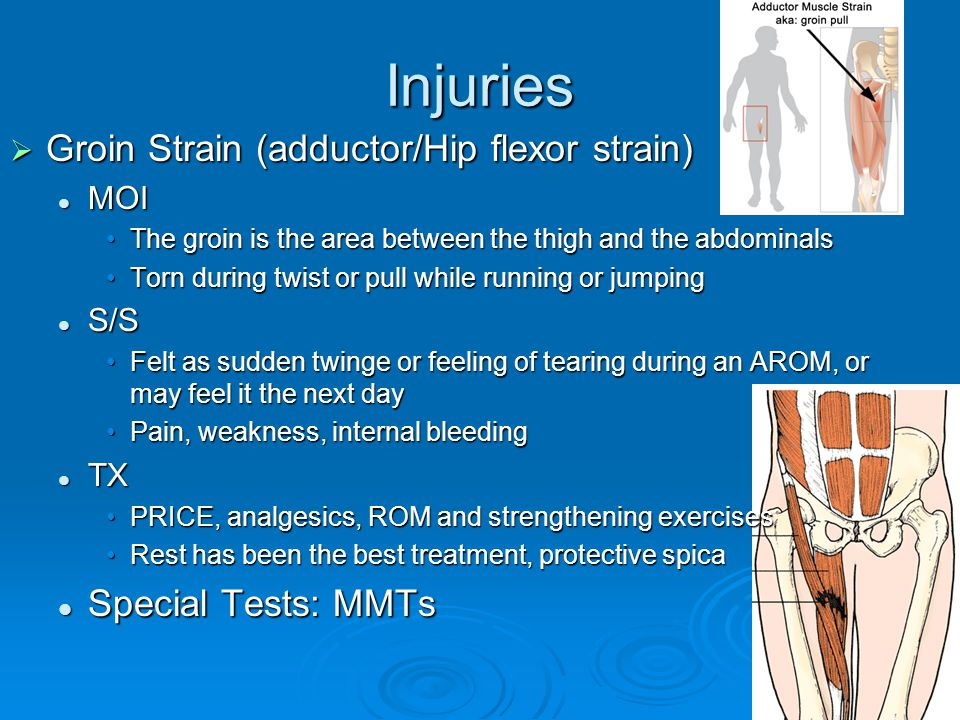 Injuries  Groin Strain (adductor/Hip flexor strain) MOI MOI The groin is the area between the thigh and the abdominalsThe groin is the area between t