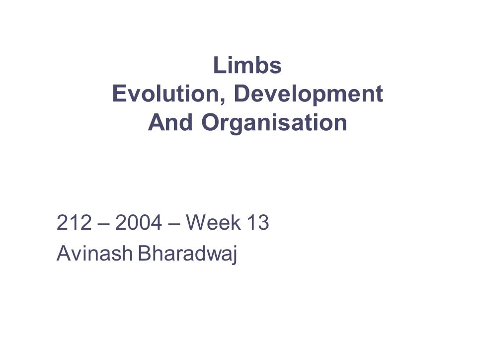 Limbs Evolution, Development And Organisation 212 – 2004 – Week 13 Avinash Bharadwaj
