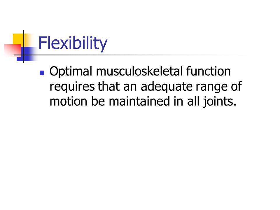 Flexibility F = At least 3 days/week, preferably daily.