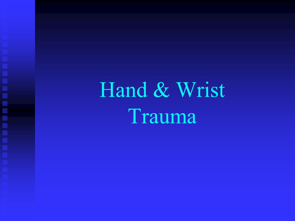 Wrist fractures Scaphoid fx - most common Scaphoid fx - most common  70-80% carpal fx  Fall on outstretched hand  Common complications - AVN, non-union Hook of hamate fx Hook of hamate fx  Direct injury from handles (tennis, golf, baseball) Radial / ulnar styloid fx Radial / ulnar styloid fx
