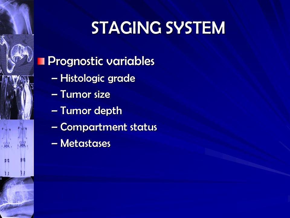 STAGING SYSTEM Prognostic variables –Histologic grade –Tumor size –Tumor depth –Compartment status –Metastases