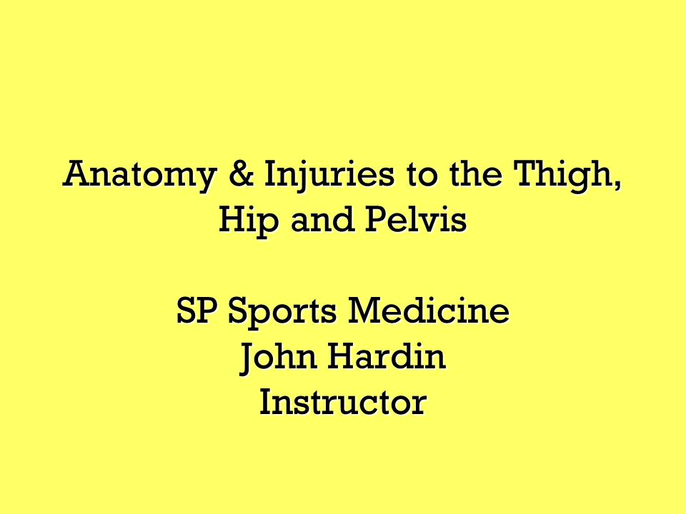 Anatomy & Injuries to the Thigh, Hip and Pelvis SP Sports Medicine John Hardin Instructor