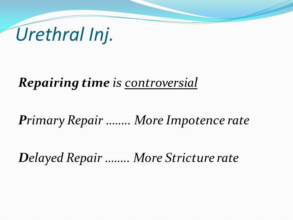 Urethral Inj. Repairing time is controversial Primary Repair ……..