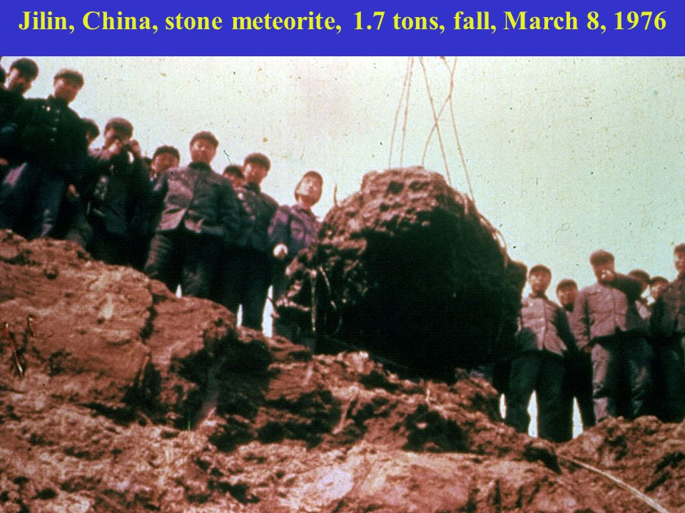 Jilin, China, stone meteorite, 1.7 tons, fall, March 8, 1976