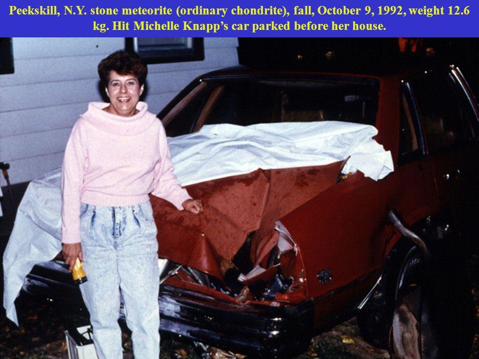 Peekskill, N.Y.stone meteorite (ordinary chondrite), fall, October 9, 1992, weight 12.6 kg.