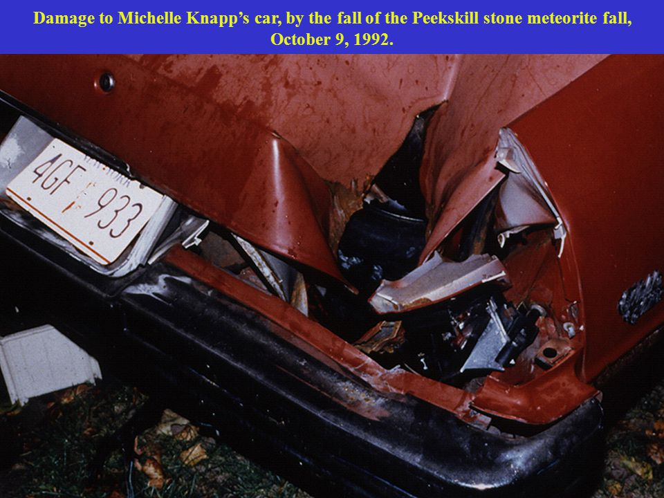 Damage to Michelle Knapp's car, by the fall of the Peekskill stone meteorite fall, October 9, 1992.
