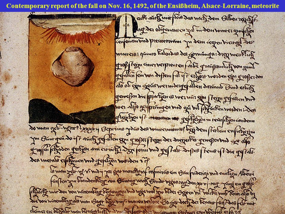 Contemporary report of the fall on Nov. 16, 1492, of the Ensißheim, Alsace-Lorraine, meteorite