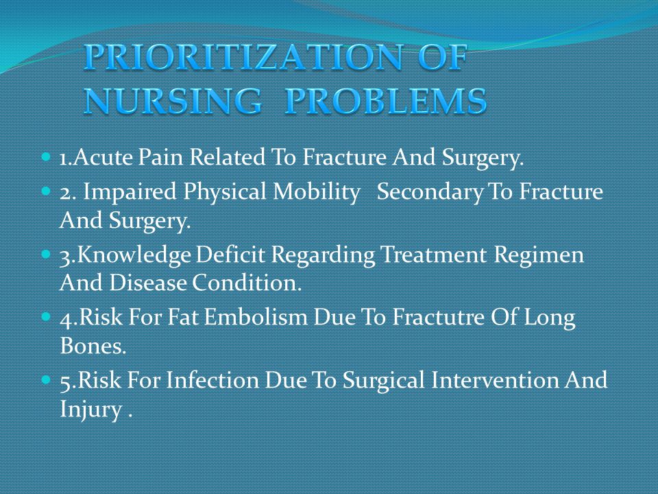 1.Acute Pain Related To Fracture And Surgery. 2. Impaired Physical Mobility Secondary To Fracture And Surgery. 3.Knowledge Deficit Regarding Treatment