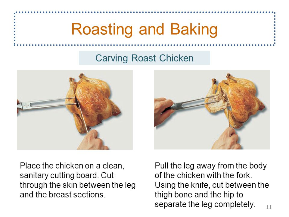 Pull the leg away from the body of the chicken with the fork.