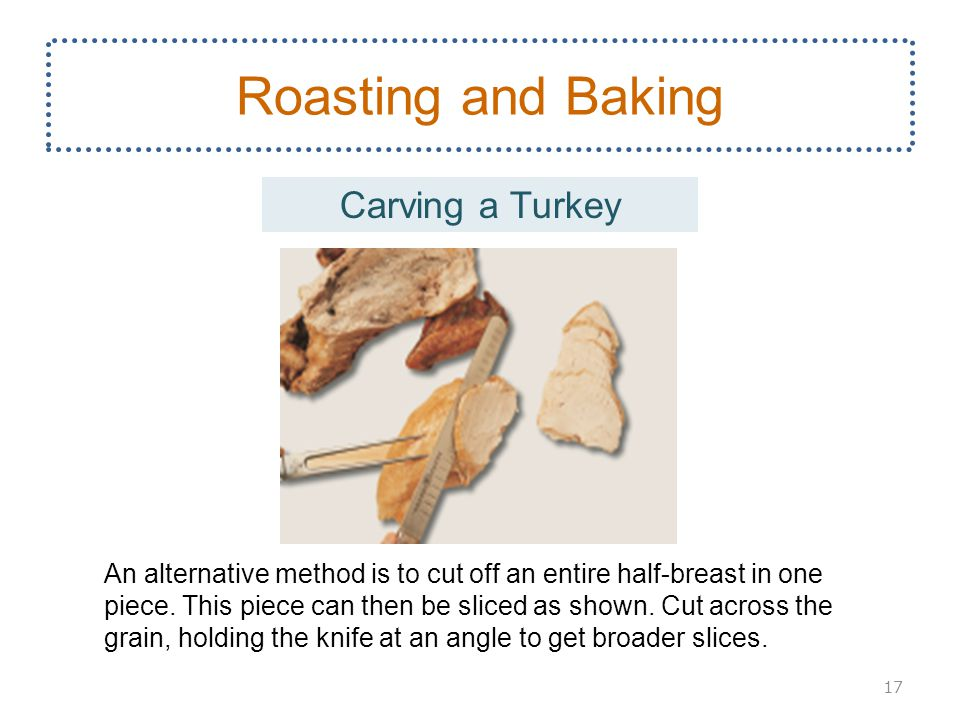 17 Roasting and Baking An alternative method is to cut off an entire half-breast in one piece.
