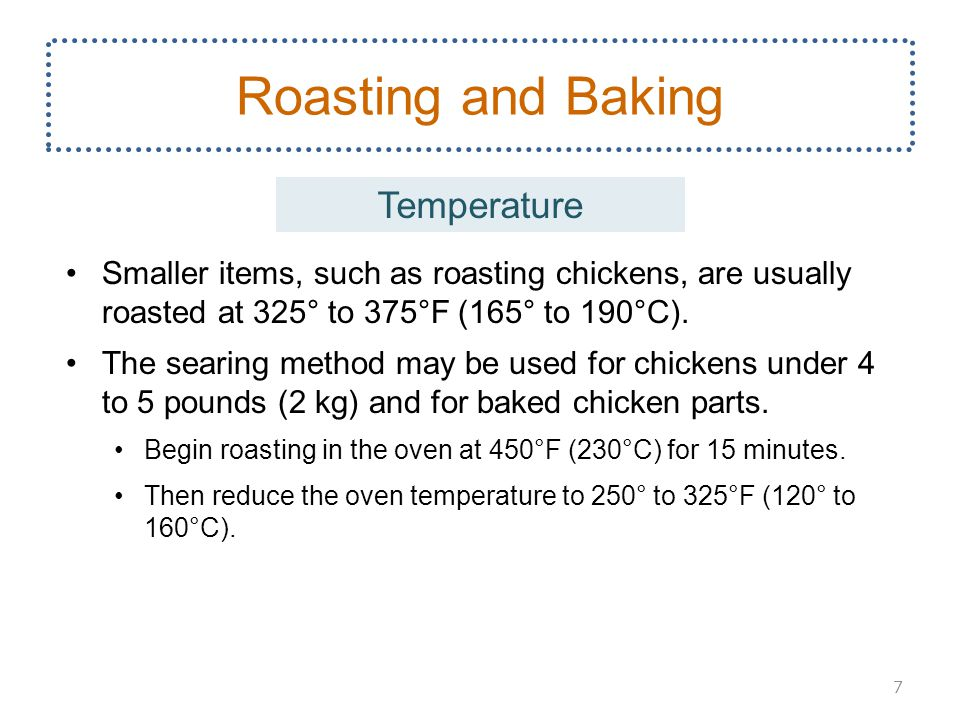 Smaller items, such as roasting chickens, are usually roasted at 325° to 375°F (165° to 190°C).