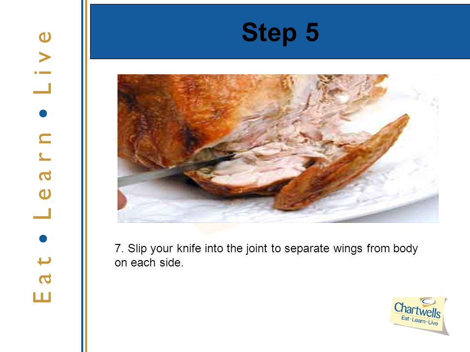 Step 5 E a t L e a r n L i v e 7. Slip your knife into the joint to separate wings from body on each side.