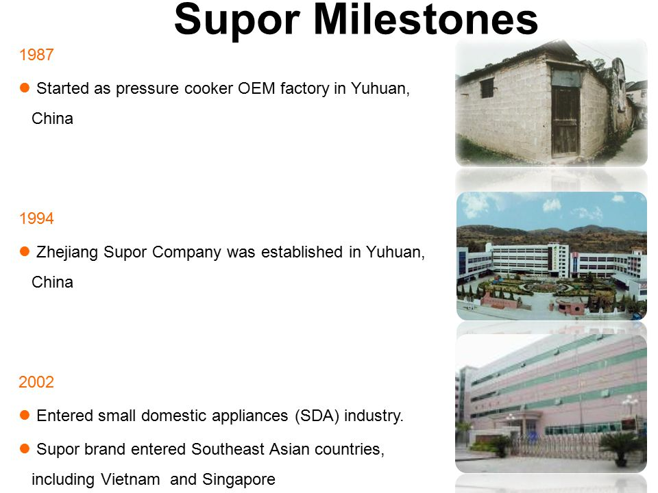 Supor Milestones 1987 Started as pressure cooker OEM factory in Yuhuan, China 1994 Zhejiang Supor Company was established in Yuhuan, China 2002 Entered small domestic appliances (SDA) industry.