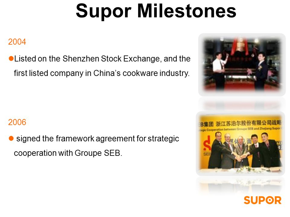 2004 Listed on the Shenzhen Stock Exchange, and the first listed company in China's cookware industry.