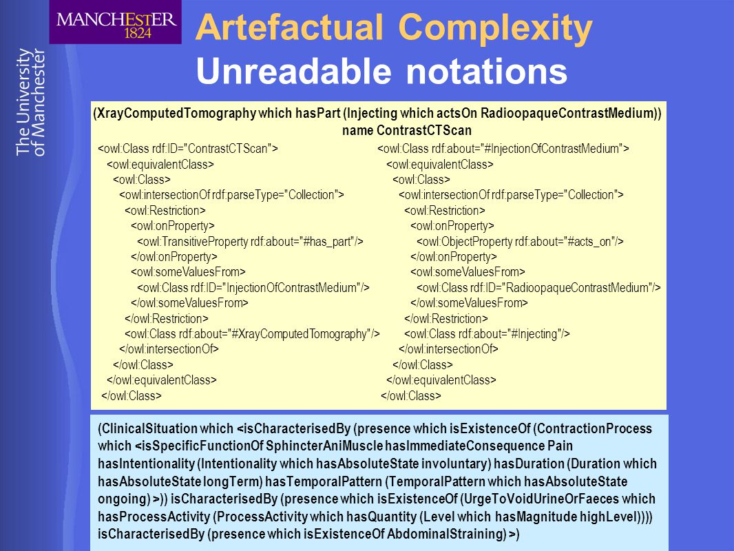© University of Manchester Artefactual Complexity Unreadable notations (ClinicalSituation which )) isCharacterisedBy (presence which isExistenceOf (UrgeToVoidUrineOrFaeces which hasProcessActivity (ProcessActivity which hasQuantity (Level which hasMagnitude highLevel)))) isCharacterisedBy (presence which isExistenceOf AbdominalStraining) >) (XrayComputedTomography which hasPart (Injecting which actsOn RadioopaqueContrastMedium)) name ContrastCTScan