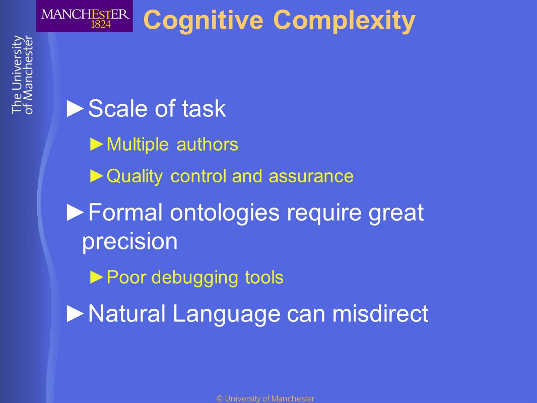 © University of Manchester Cognitive Complexity ►Scale of task ►Multiple authors ►Quality control and assurance ►Formal ontologies require great precision ►Poor debugging tools ►Natural Language can misdirect