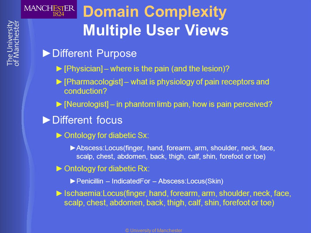 © University of Manchester Domain Complexity Multiple User Views ►Different Purpose ►[Physician] – where is the pain (and the lesion)? ►[Pharmacologis