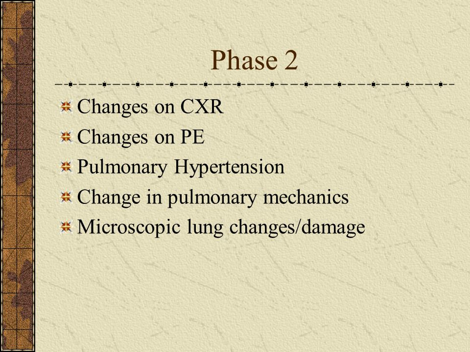 Phase 2 Changes on CXR Changes on PE Pulmonary Hypertension Change in pulmonary mechanics Microscopic lung changes/damage