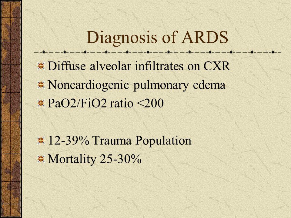 Diagnosis of ARDS Diffuse alveolar infiltrates on CXR Noncardiogenic pulmonary edema PaO2/FiO2 ratio <200 12-39% Trauma Population Mortality 25-30%