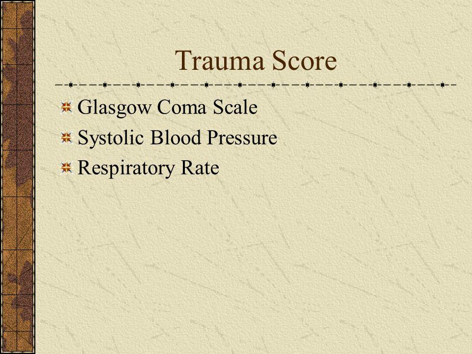 Trauma Score Glasgow Coma Scale Systolic Blood Pressure Respiratory Rate