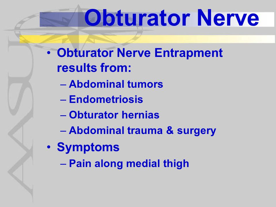 Obturator Nerve Symptoms of Obturator neuropathy reported by patient include: –Pain along medial thigh - obturator neuralgia common –Numbness along medial thigh also common –Occassionally report gait abnormalities –Rarely do patients report weakness