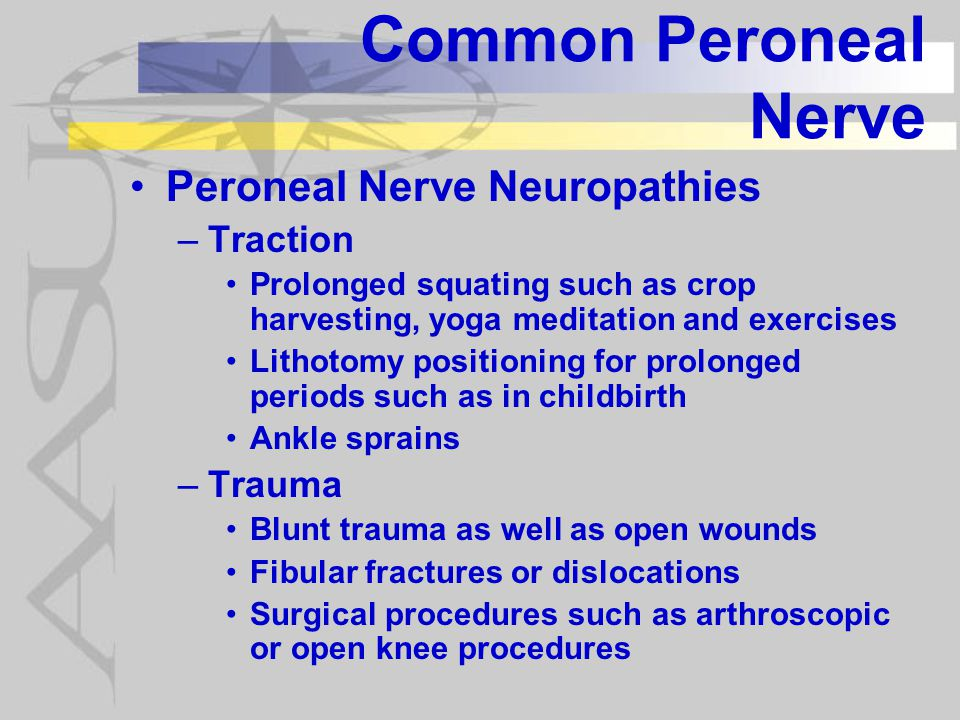 Common Peroneal Nerve Peroneal Nerve Neuropathies –Other factors Diabetics and others with polyneuropathies are particularly prone to injury at this point Prolonged (> 30 min) cold applied to the knee has been shown to produce irreversible injury to the common peroneal nerve at this point as well