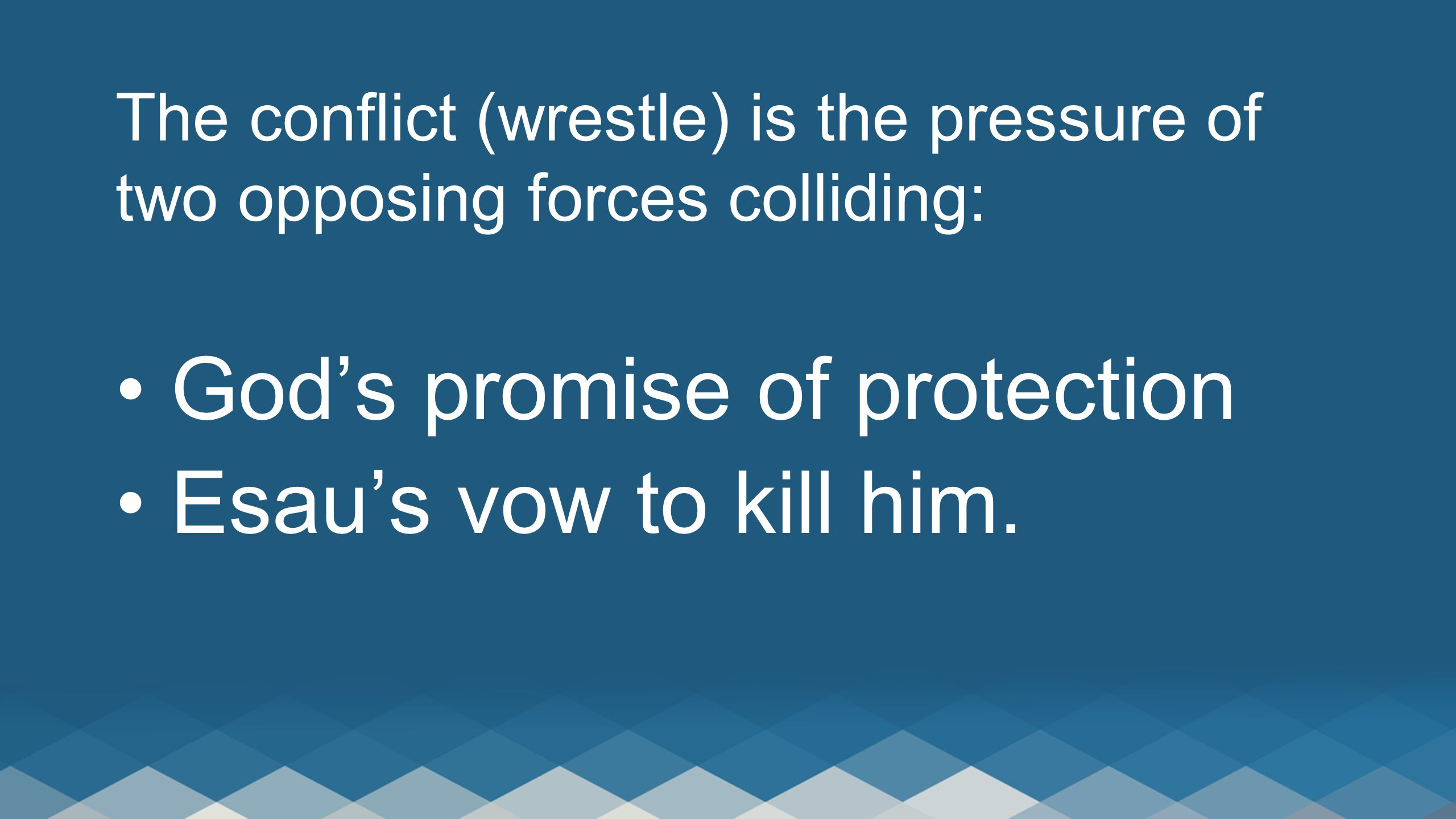 The conflict (wrestle) is the pressure of two opposing forces colliding: God's promise of protection Esau's vow to kill him.