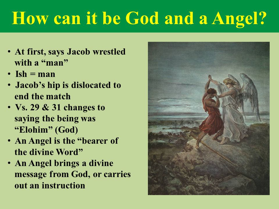 "How can it be God and a Angel? At first, says Jacob wrestled with a ""man"" Ish = man Jacob's hip is dislocated to end the match Vs. 29 & 31 changes to"