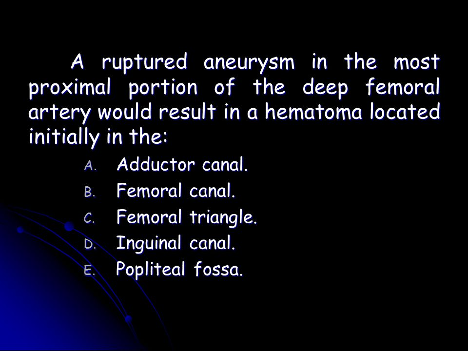 A ruptured aneurysm in the most proximal portion of the deep femoral artery would result in a hematoma located initially in the: A. Adductor canal. B.