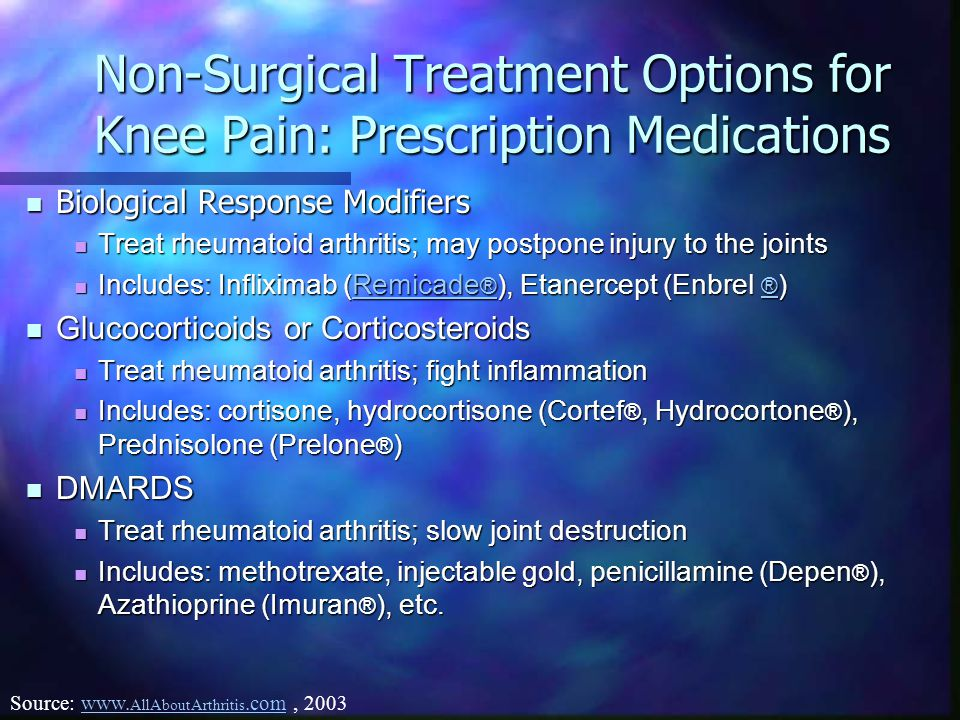 Non-Surgical Treatment Options for Knee Pain: Prescription Medications Biological Response Modifiers Biological Response Modifiers Treat rheumatoid arthritis; may postpone injury to the joints Treat rheumatoid arthritis; may postpone injury to the joints Includes: Infliximab (Remicade ® ), Etanercept (Enbrel ® ) Includes: Infliximab (Remicade ® ), Etanercept (Enbrel ® )Remicade ® Remicade ® Glucocorticoids or Corticosteroids Glucocorticoids or Corticosteroids Treat rheumatoid arthritis; fight inflammation Treat rheumatoid arthritis; fight inflammation Includes: cortisone, hydrocortisone (Cortef ®, Hydrocortone ® ), Prednisolone (Prelone ® ) Includes: cortisone, hydrocortisone (Cortef ®, Hydrocortone ® ), Prednisolone (Prelone ® ) DMARDS DMARDS Treat rheumatoid arthritis; slow joint destruction Treat rheumatoid arthritis; slow joint destruction Includes: methotrexate, injectable gold, penicillamine (Depen ® ), Azathioprine (Imuran ® ), etc.