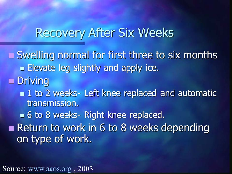 Recovery After Six Weeks Swelling normal for first three to six months Swelling normal for first three to six months Elevate leg slightly and apply ice.
