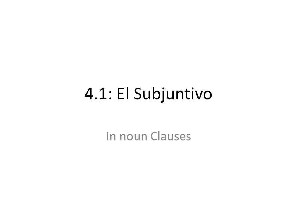 4.1: El Subjuntivo In noun Clauses