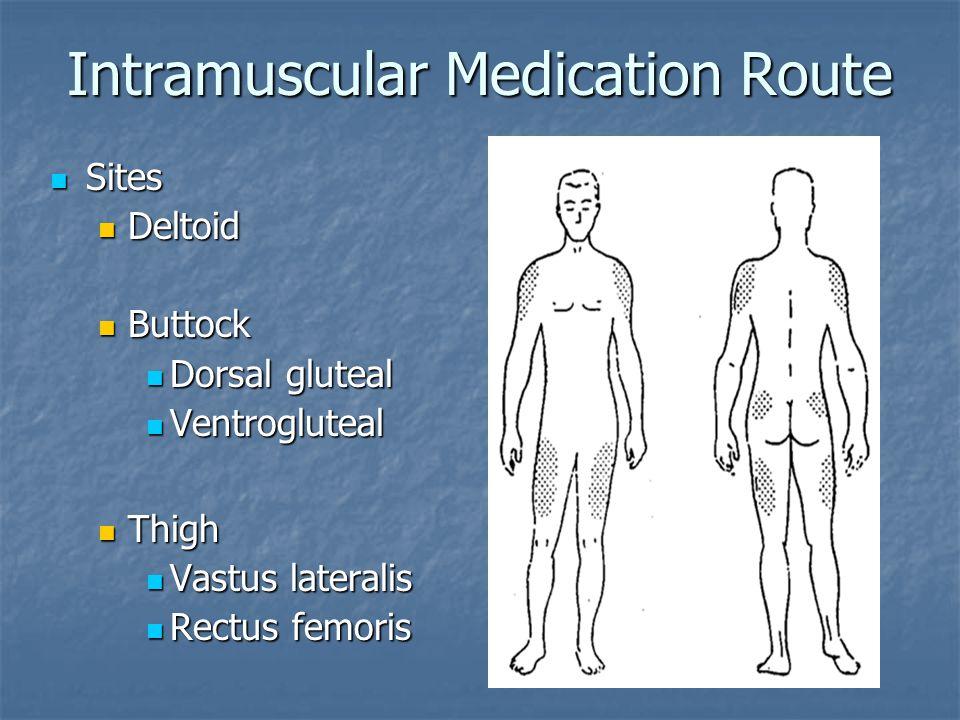 Intramuscular Medication Route Sites Sites Deltoid Deltoid Buttock Buttock Dorsal gluteal Dorsal gluteal Ventrogluteal Ventrogluteal Thigh Thigh Vastu