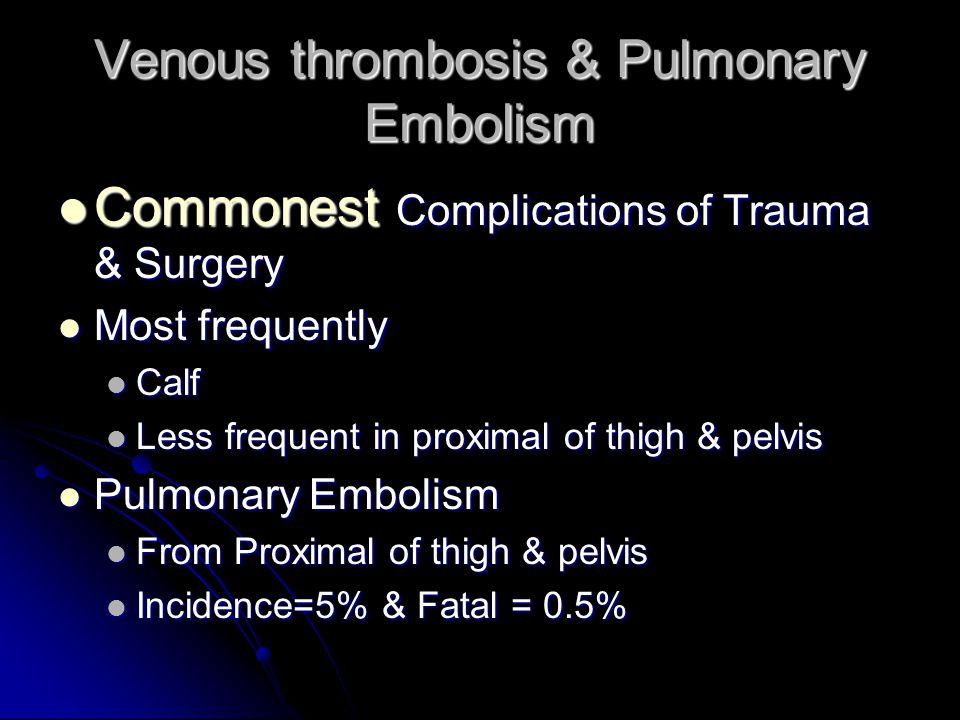 Venous thrombosis & Pulmonary Embolism Commonest Complications of Trauma & Surgery Commonest Complications of Trauma & Surgery Most frequently Most fr
