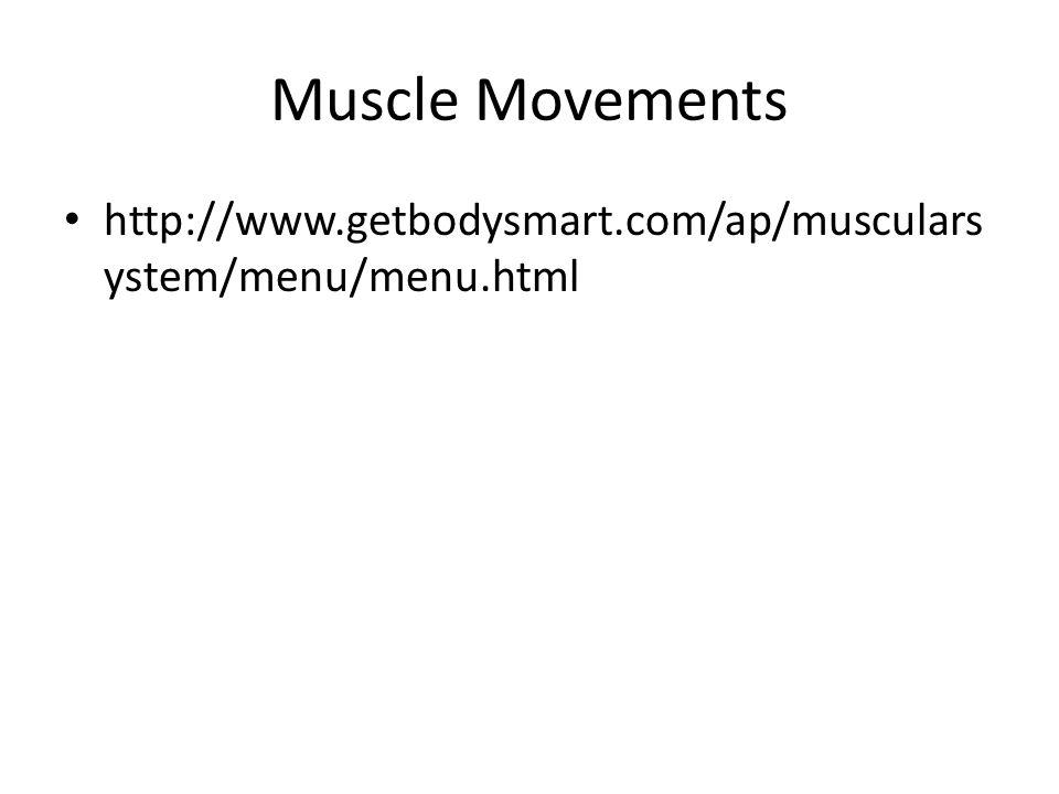 Muscle Movements http://www.getbodysmart.com/ap/musculars ystem/menu/menu.html