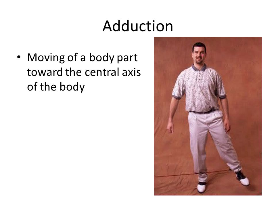 Adduction Moving of a body part toward the central axis of the body