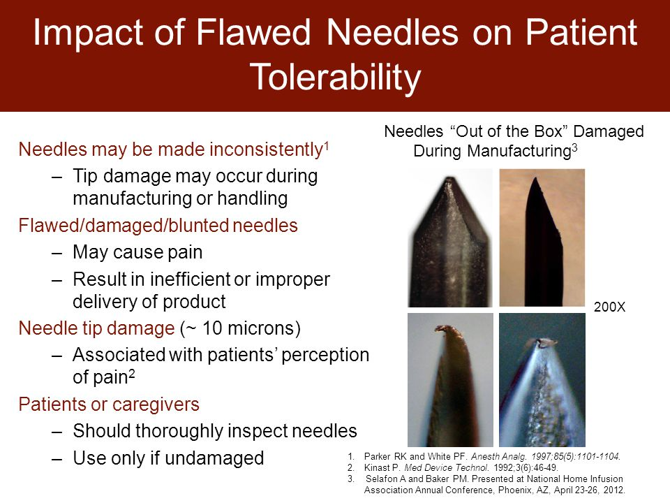 Impact of Flawed Needles on Patient Tolerability Needles may be made inconsistently 1 –Tip damage may occur during manufacturing or handling Flawed/damaged/blunted needles –May cause pain –Result in inefficient or improper delivery of product Needle tip damage (~ 10 microns) –Associated with patients' perception of pain 2 Patients or caregivers –Should thoroughly inspect needles –Use only if undamaged Needles Out of the Box Damaged During Manufacturing 3 1.Parker RK and White PF.