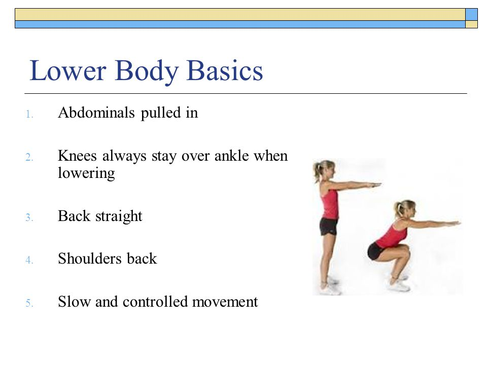 Lower Body Basics 1. Abdominals pulled in 2. Knees always stay over ankle when lowering 3. Back straight 4. Shoulders back 5. Slow and controlled move