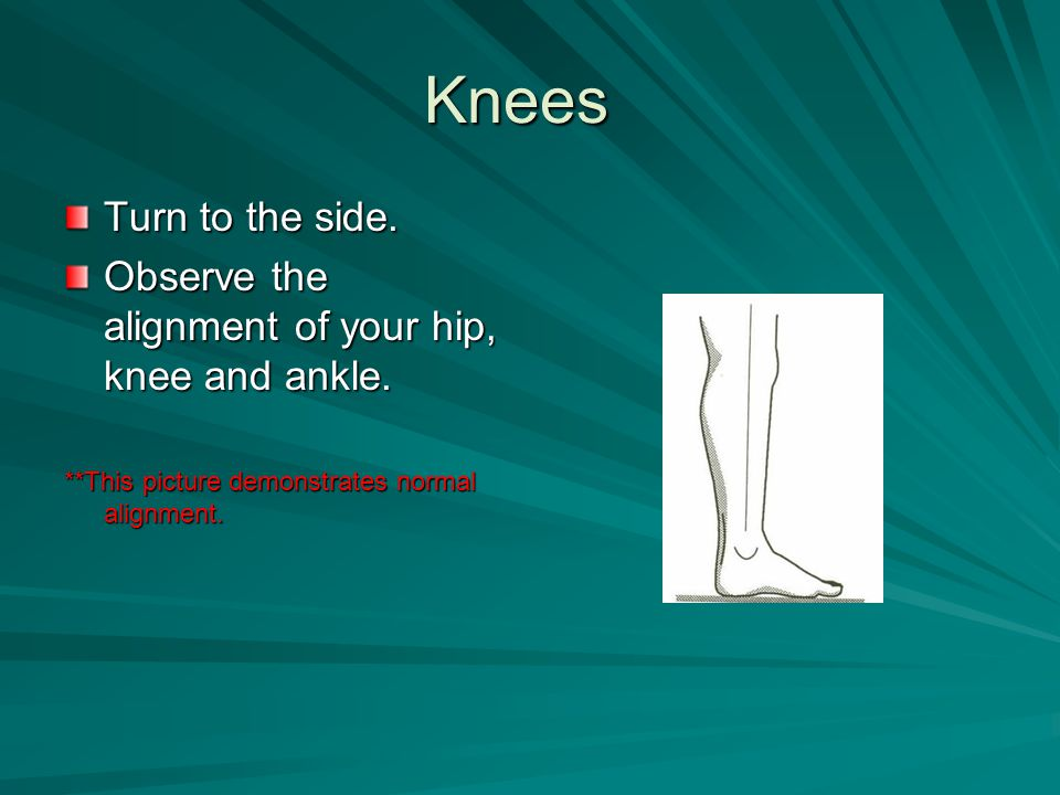 Knees Turn to the side. Observe the alignment of your hip, knee and ankle. **This picture demonstrates normal alignment.