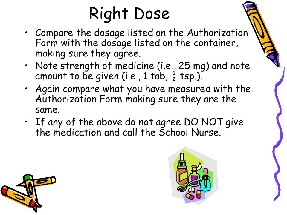 Right Dose Compare the dosage listed on the Authorization Form with the dosage listed on the container, making sure they agree. Note strength of medic