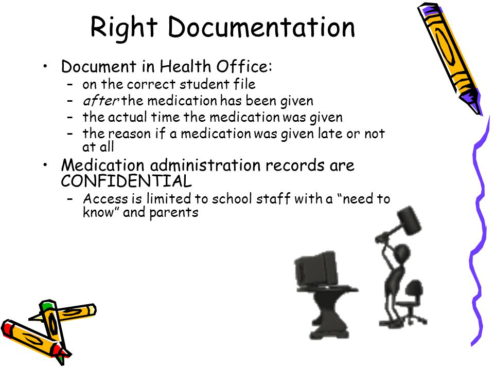 Right Documentation Document in Health Office: –on the correct student file –after the medication has been given –the actual time the medication was g
