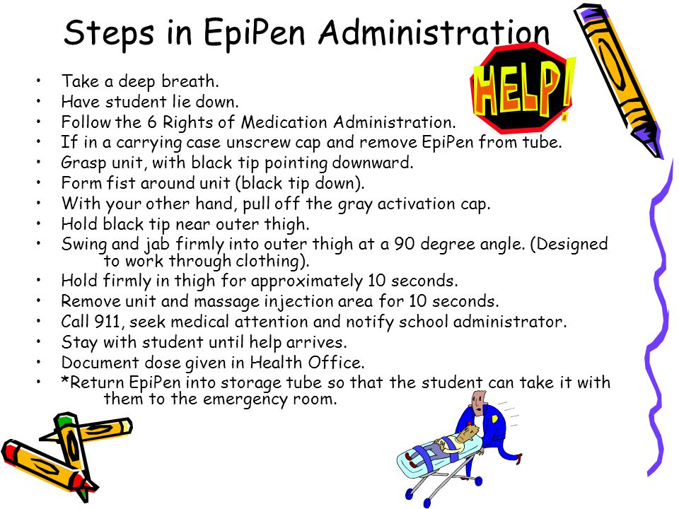 Steps in EpiPen Administration Take a deep breath. Have student lie down. Follow the 6 Rights of Medication Administration. If in a carrying case unsc