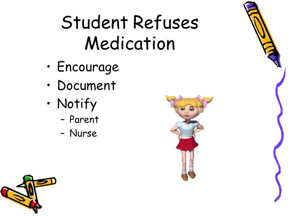 Student Refuses Medication Encourage Document Notify –Parent –Nurse