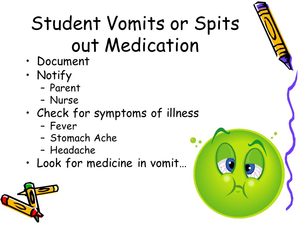 Student Vomits or Spits out Medication Document Notify –Parent –Nurse Check for symptoms of illness –Fever –Stomach Ache –Headache Look for medicine i