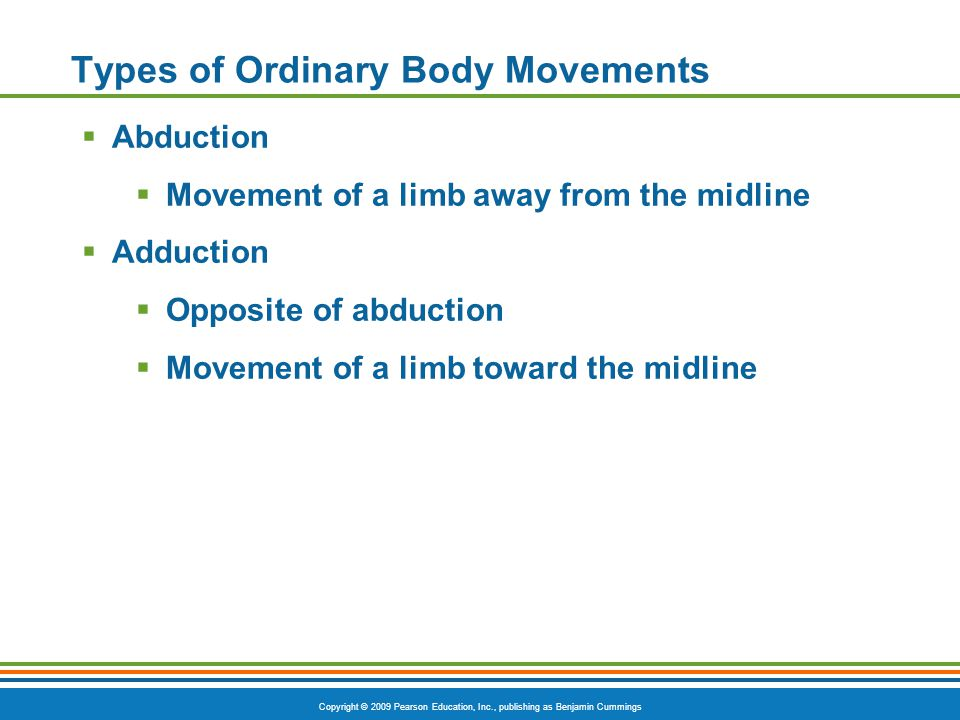 Copyright © 2009 Pearson Education, Inc., publishing as Benjamin Cummings Types of Ordinary Body Movements  Abduction  Movement of a limb away from