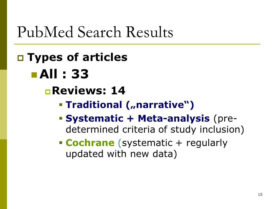 """15 PubMed Search Results  Types of articles All : 33  Reviews: 14  Traditional (""""narrative )  Systematic + Meta-analysis (pre- determined criteria of study inclusion)  Cochrane (systematic + regularly updated with new data)"""